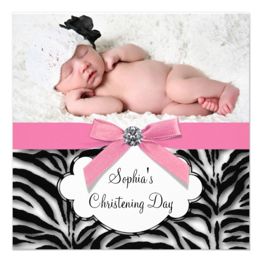 Pink Zebra Baby Girl Photo Christening Personalized Announcement