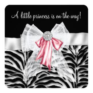Pink Zebra Baby Shower 13 Cm X 13 Cm Square Invitation Card