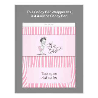 Pink Zebra Baby Shower Candy Bar Wrapper 21.5 Cm X 28 Cm Flyer