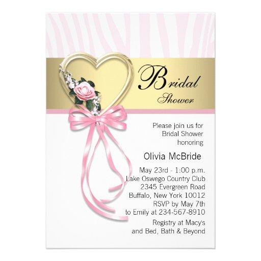 Pink Zebra Black Gold Zebra Bridal Shower Personalized Invites
