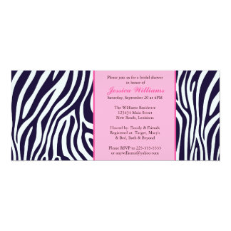 Pink Zebra Bridal Shower 10 Cm X 24 Cm Invitation Card