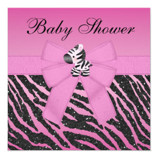 Pink Zebra & Butterflies Faux Glitter Baby Shower 13 Cm X 13 Cm Square Invitation Card