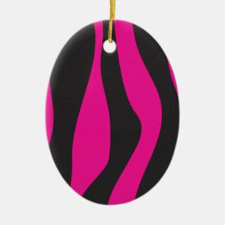 Pink zebra ceramic ornament