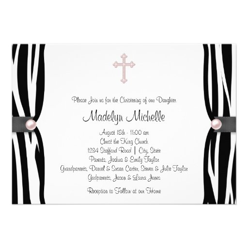 Pink Zebra Christening Personalized Announcement