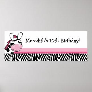 Pink Zebra Diva Custom Baby Shower Banner Poster