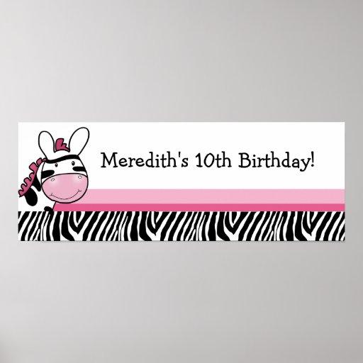 Pink Zebra Diva Custom Baby Shower Banner Print
