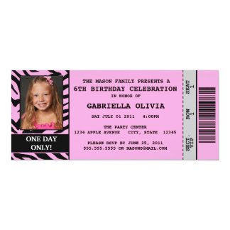Pink Zebra Event Ticket Birthday Party Invitation