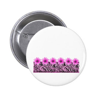 pink zebra flowers 6 cm round badge