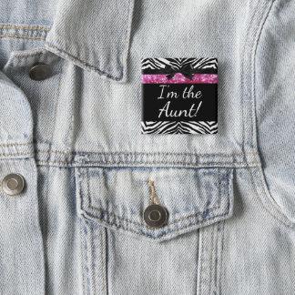 Pink Zebra Girl New Baby Shower Aunt Name Tag 15 Cm Square Badge