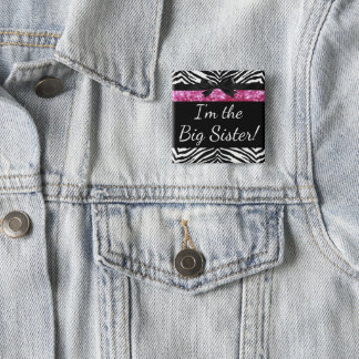 Pink Zebra Girl New Baby Shower Big Sister Name 15 Cm Square Badge