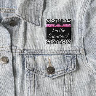 Pink Zebra Girl New Baby Shower Grandma Name Tag 15 Cm Square Badge