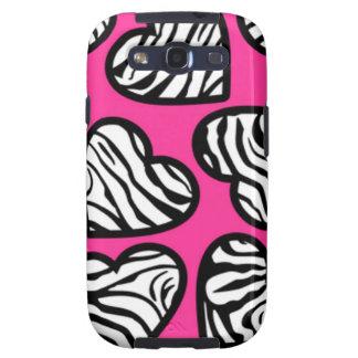 Pink zebra hearts BlackBerry Samsung Galaxy Case Galaxy SIII Covers