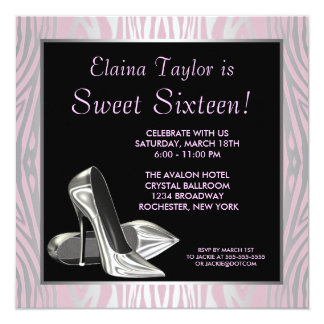 Pink Zebra High Heels Sweet 16 Party 13 Cm X 13 Cm Square Invitation Card