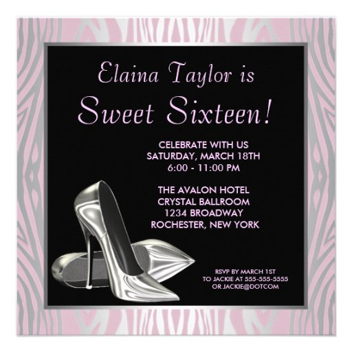 Pink Zebra High Heels Sweet 16 Party Invitation