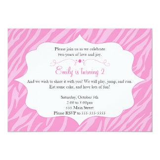 Pink Zebra Invitation Girl Birthday Party