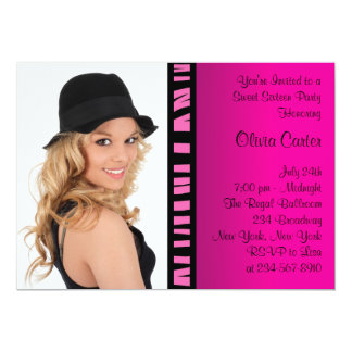 Pink Zebra Photo Sweet Sixteen Birthday Party Card
