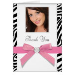 Pink Zebra Photo Thank You Cards
