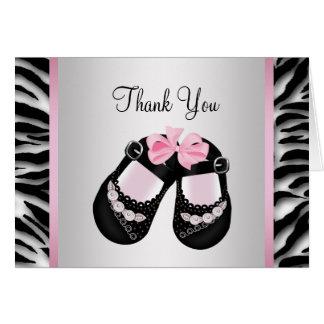 Pink Zebra Pink Black Baby Girl Shower Thank You Card