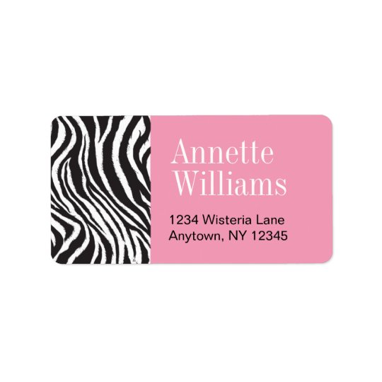 Pink & Zebra Print  Address Labels