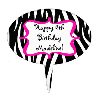Pink Zebra Print Birthday Party Cake Picks