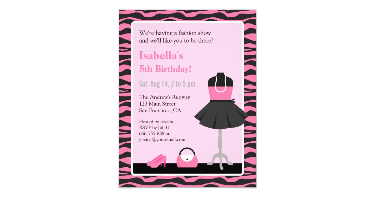 Pink Zebra Print Fashion Show Girls Birthday Party Card | Zazzle ...