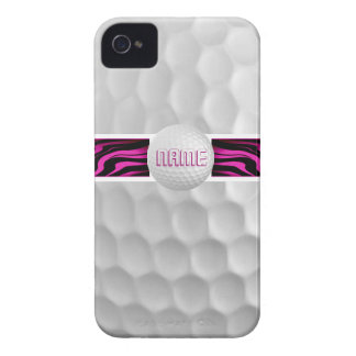 Pink Zebra Print Golf Ball Iphone 4 Case