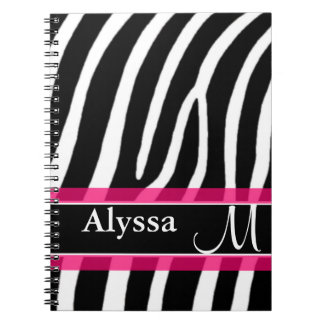 Pink Zebra Print Personalized Notebook