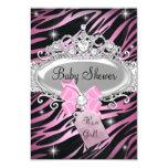 Pink Zebra Print & Princess Tiara Baby Shower 9 Cm X 13 Cm Invitation Card