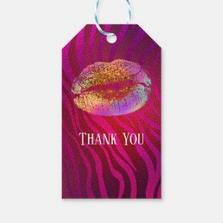 Pink Zebra Print Rainbow Gold Glitter Lips Favor Gift Tags