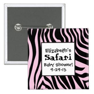Pink Zebra Print Safari Shower Button