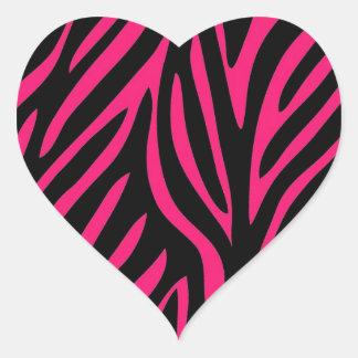 Pink Zebra Print Heart Stickers