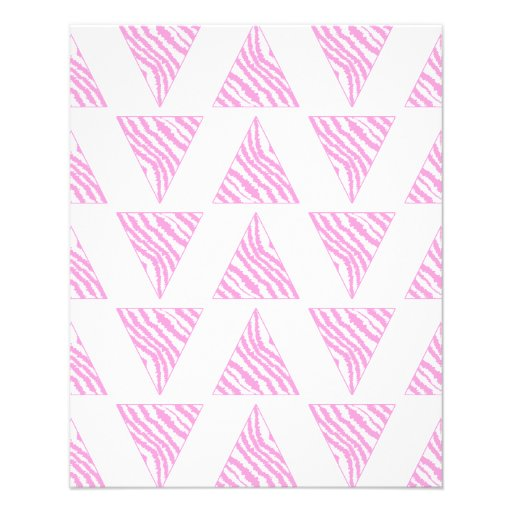 Pink Zebra Print Stripes, in Pattern of Triangles. Full Color Flyer