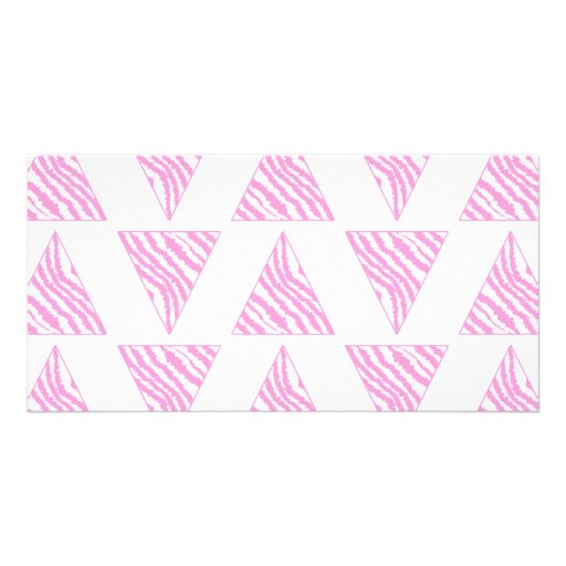 Pink Zebra Print Stripes, in Pattern of Triangles. Personalized Photo Card