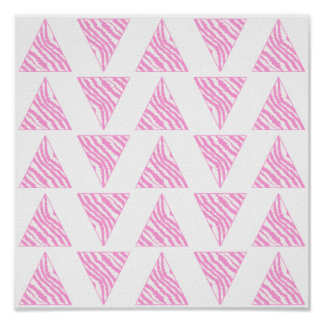 Pink Zebra Print Stripes, in Pattern of Triangles.