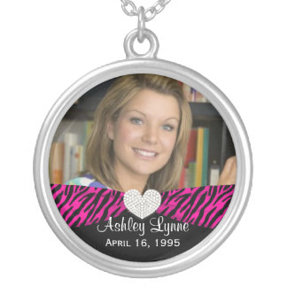 Pink Zebra Ribbon- Sweet 16 Birthday Photo Pendant