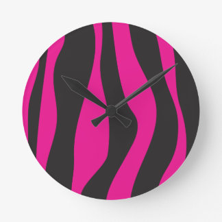 Pink zebra round clock