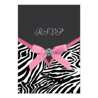 Pink Zebra RSVP Cards Invites