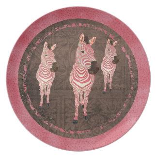 Pink Zebra Shadows Plate