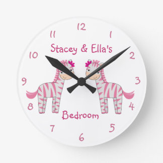 Pink Zebra Sisters Personalized Shared Bedroom Round Clock