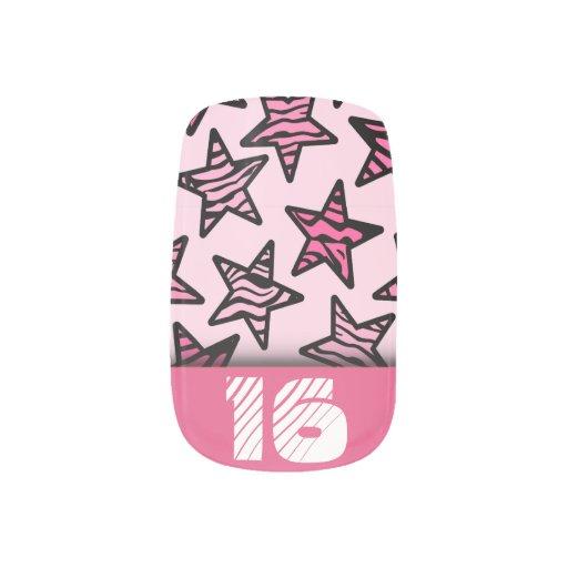 Pink Zebra Stars Sweet Birthday Nail Stickers Zazzle