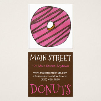 Pink Zebra Stripe Donut Doughnut Shop Breakfast Square Business Card