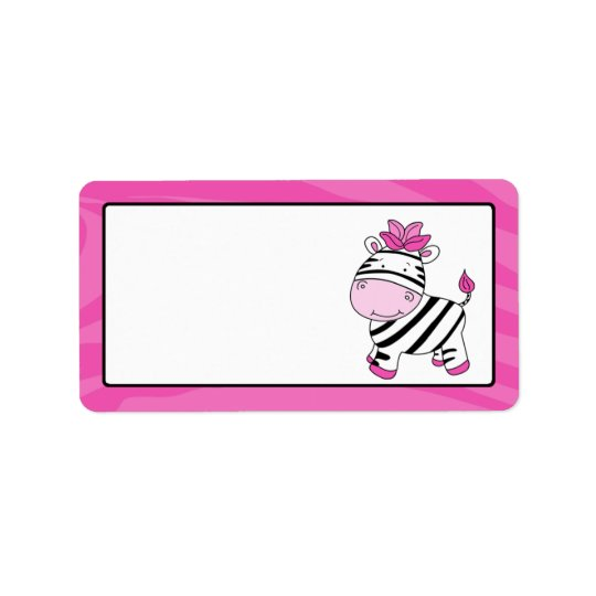 Pink Zebra Stripe Gift Tag Label