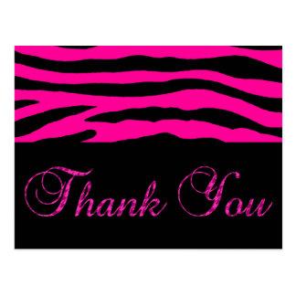 Pink Zebra Stripe Thank You Postcard