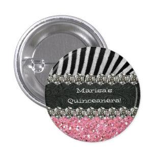 Pink Zebra Stripes Celebration 3 Cm Round Badge