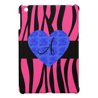Pink zebra stripes monogram blue roses iPad mini cases