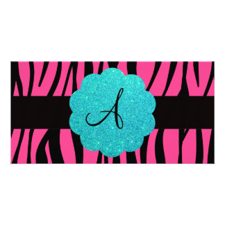 Pink zebra stripes monogram picture card