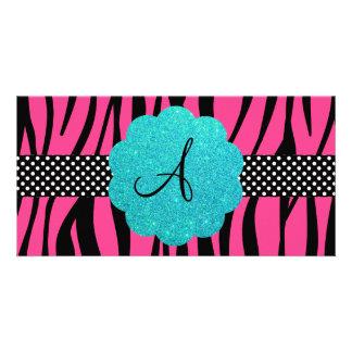 Pink zebra stripes monogram photo card