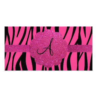 Pink zebra stripes monogram photo card template