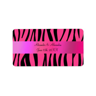 Pink zebra stripes wedding favors address label