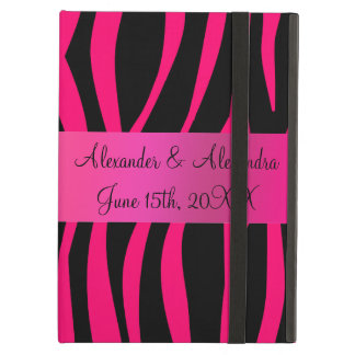 Pink zebra stripes wedding favors iPad air cover